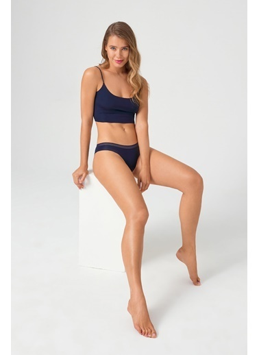 Cottonhill File Lastikli Lazer Kesim Kadın Bikini Külot Lacivert
